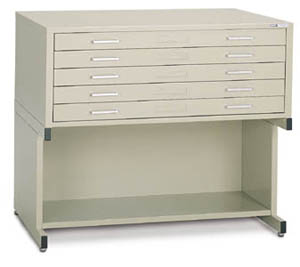Mayline C File 5 Drawer Model Mounted On High Base
